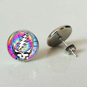 Grateful Dead Glass Round Stud Earrings